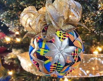 Kente n Lamé Christmas Ornament,  Quilted Fabric Ornament, Round Ornament, Gold n Blue Royal Ornament,  Ankara African Ornament SKU KCO1004