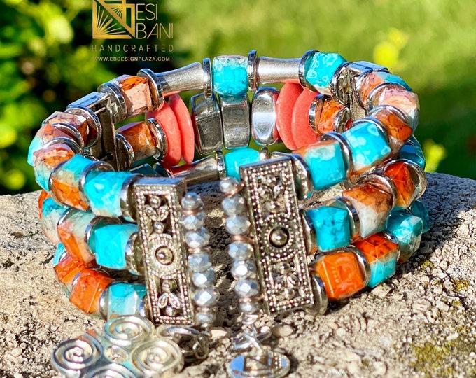 DESERT SUN Cuff Bracelet, Ghana Krobo Beads bracelet, Memory Wire Cuff Bracelet