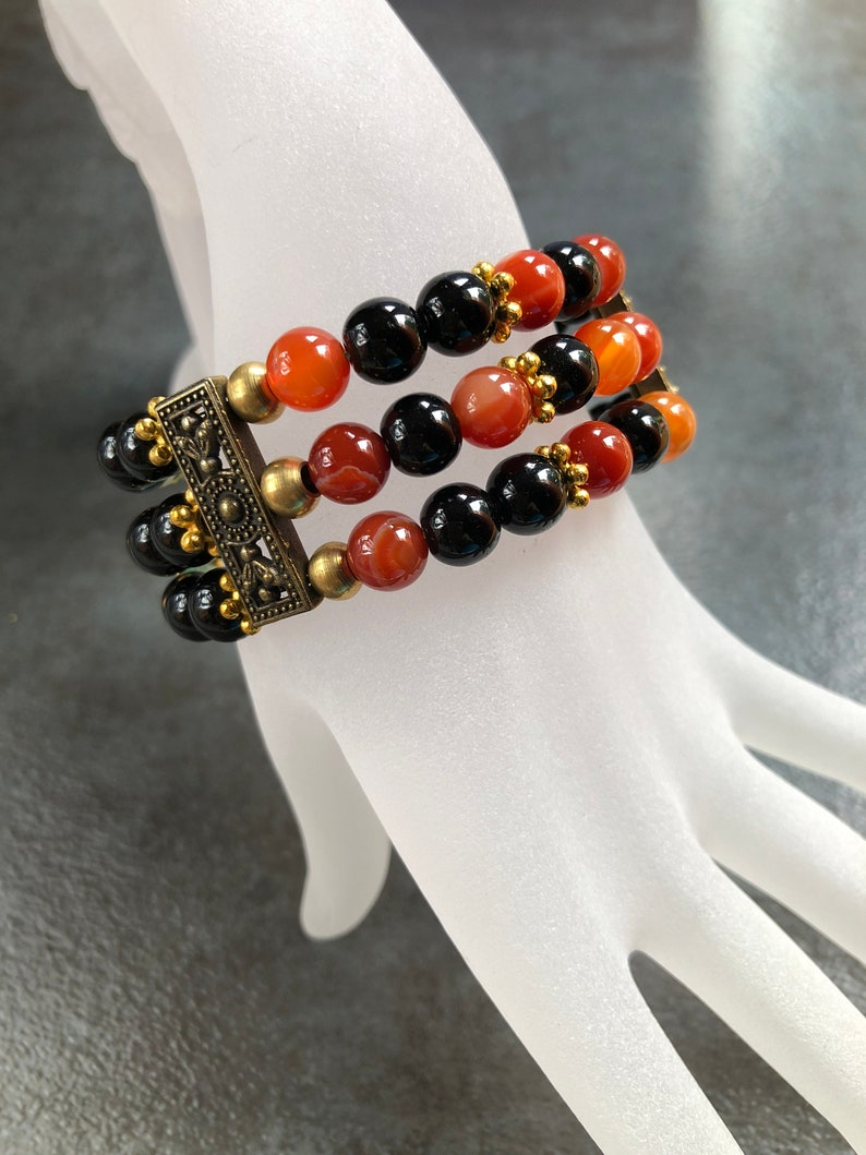 TROPICAL SUNSET Gemstone Cuff Bracelet, African Tuquoise & Carnelian beads  Cuff, Adinkra Symbol