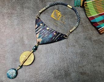 QUEEN AMINA Shibori/Adiré Leather Neckpiece, tiedyed leather, African Brass