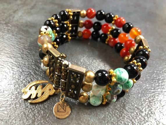 TROPICAL SUNSET Gemstone Cuff Bracelet, African Tuquoise & Carnelian beads Cuff, Adinkra Symbol
