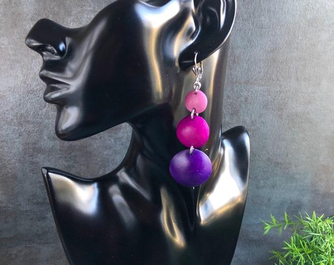 PURPLE-FUCHSIA GODDESS Leather Earrings, Real Leather Jewelry, Lightweight Earrings, Metallic Earrings, Statement Errings