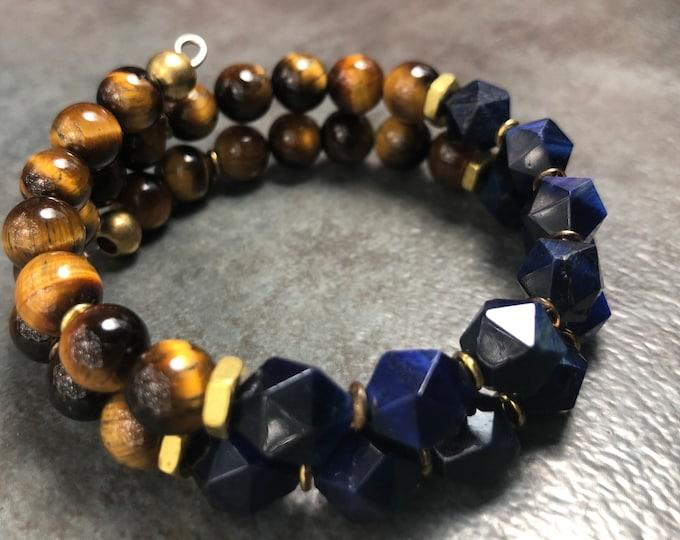 COGNAC at MIDNIGHT MEN'S Tiger Eye Bracelet, Memory Wire Bracelet, Brown & Blue bracelet
