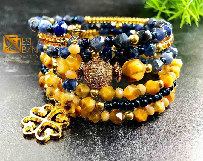 BLUE 'n GOLD TIGER Eye  Wrap Cuff Bracelet, Cubic Zirconia,, Adinkra Symbol, Memory Wire Bracelet Sku MWTE1001