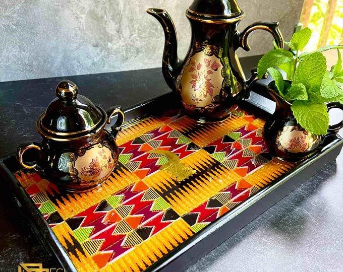 Orange-Purple Kente Resined Trays, Wood & Fabric Trays, Glitteting tray, Wedding Gift Trays , Resin tray,  Ankara African Tray SKU KMT1002