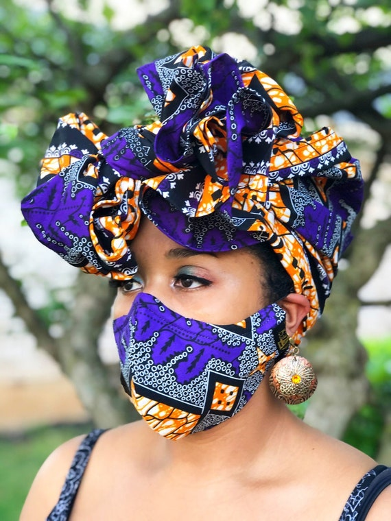HEADWRAP & FACE MASK set, African Print Face Mask, Ankara Mask, 100% Cotton Reusable Face Mask w/ Filter Pocket, Shaped Mask HWFM2016