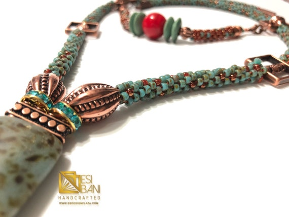 Copper 'n' Turquoise Long Necklace/ Kumihimo/ Boho Chic, African Jewelry/ Global Fusion