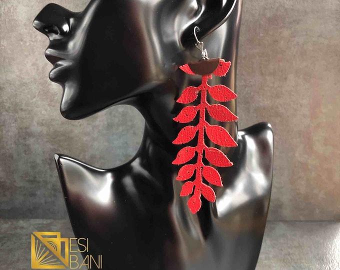 Vine Elegance Leather cascading Earrings, Real Leather Jewelry, Lightweight Earrings, Metallic Earrings, Statement Errings