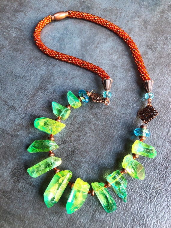 CHARTREUSE 'n BURNT ORANGE Quartz Necklace, Gemstone and Copper Kumihimo necklace