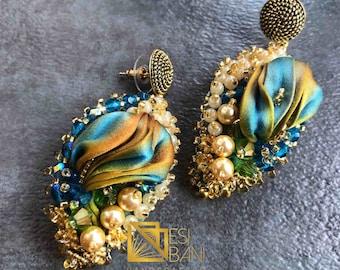 Silk Peacock Earrings