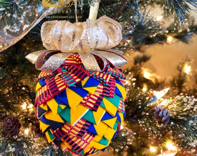 Royal Kente Christmas Ornament,  Quilted Fabric Ornament, Pine Cone Ornament, Gold n Blue Ornament,  Ankara African Ornament SKU KCO1002