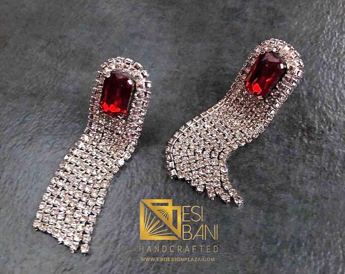 Fireworks Crystal Fringe Earrings, Long Earrings, Red Swarovski Crystal & Clear rhinestoneEarrings