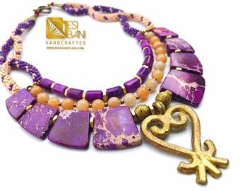 Sankofa Queen Gemstone Necklace/ Adinkra Brass