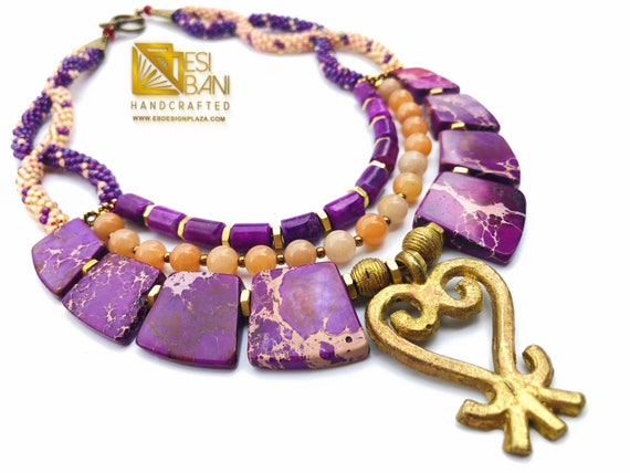 Sankofa Queen Gemstone Necklace/ Adinkra Brass