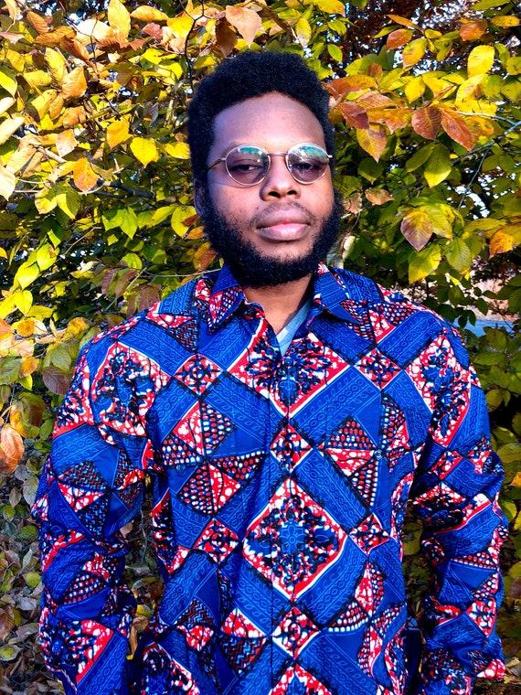 BLUE DIAMOND Men's Shirt, Long Sleeve African Print Shirt