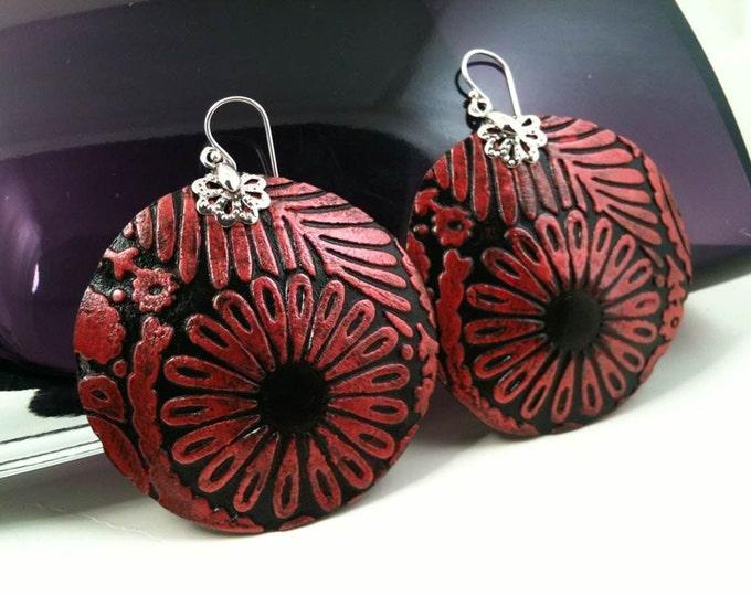 Embossed Red/Black Genuine Leather Earrings