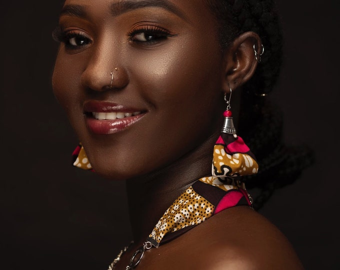 Fuchsia Fire African Wax Print Jewelry Set