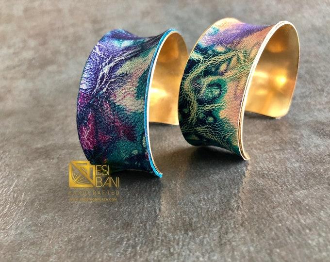 NUNA Shibori Medium Wide Leather bracelet/ shibori/Adiré Leather bracelet/ brass