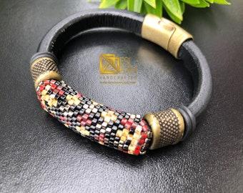 Beige Picasso, Cherry and Bronze beaded Greek leather bracelet/ Men's bracelet, womens bracelet