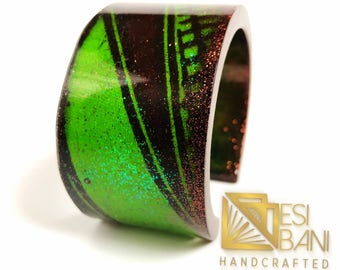 Green and Bronze African Print bracelet