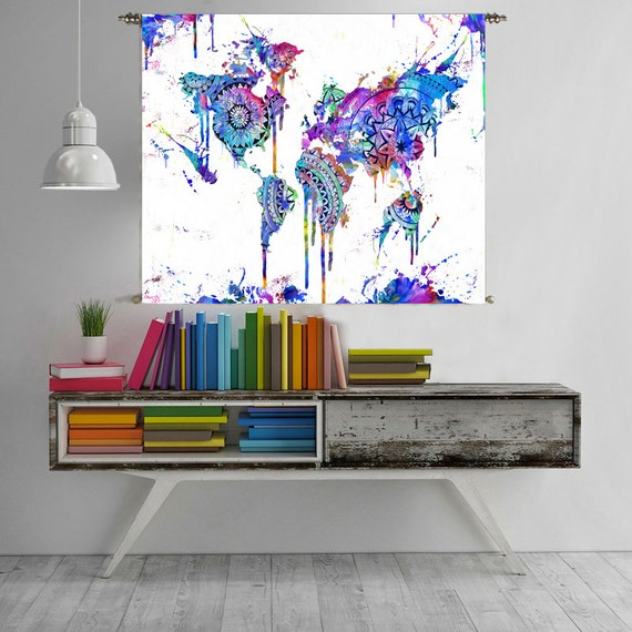 World map tapestry wall hanging world map canvas world map etsy image 0 gumiabroncs Images