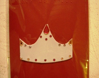 Braille Birthday Card - Tactile birthday greeting card with craft/glitter foam crown with glitter gems