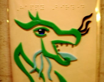 Braille Birthday Card - Tactile birthday greeting card with foam/glitter foam dragon with plastic gem teeth and eye