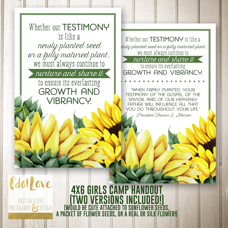 Girls Camp Handouts Testimony Is Like A Seed Quote Instant Etsy