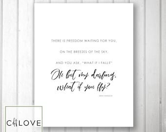 What if I fall?  What if you fly quote -  INSTANT download  8x10 size