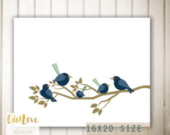 Birds on a branch 16x20 size - INSTANT Download