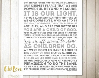 Our Deepest Fear - Marianne WIlliamson quote Child of God INSTANT download 16x20 size