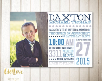LDS Baptism Invitation Announcement for BOYS  CUSTOMIZABLE Digital Print