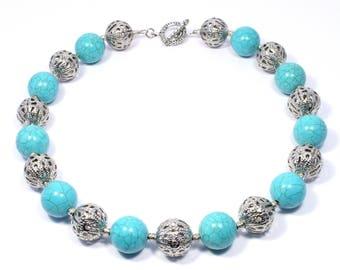 Turquoise Beaded Necklace -  Turquoise Jewelry - Turquoise Statement Necklace - Chunky Turquoise and Silver Necklace - Gemstone Necklace