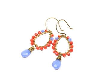 Blue Chalcedony and Coral Crystal Wire-wrapped Earrings - Boho Luxe Crystal and Gemstone Drop Earrings - Colourful Fashion Earrings on Brass