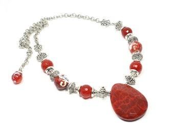 Fire Crackle Agate Pendant Necklace - Agate Necklace - Gemstone Necklace - Agate Beaded Necklace - Gemstone Pendant Necklace