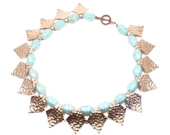 Turquoise Cleopatra Necklace - Chunky Hammered Gold-tone and Turquoise Necklace - Turquoise Statement Collar - Turquoise Statement Necklace