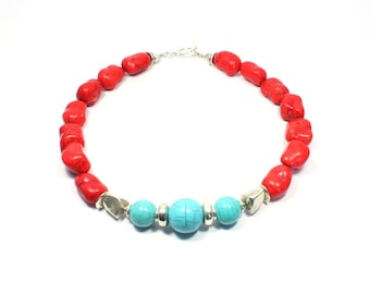 Red Turquoise Statement Necklace - Chunky Gemstone Necklace - Red and Turquoise Howlite Beaded Necklace - Beadwork - Big Skies Jewellery