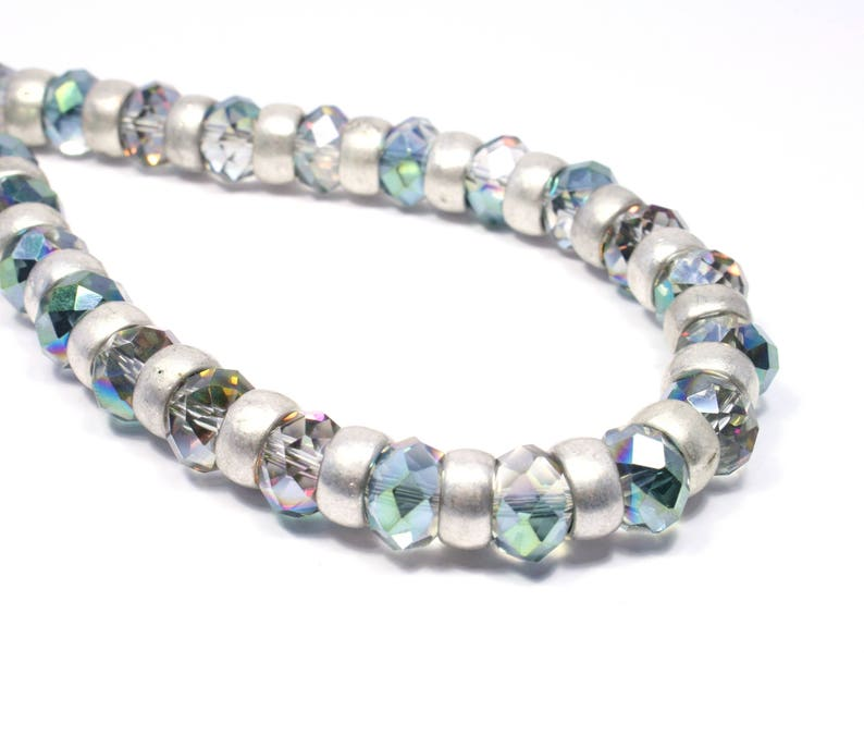 Sparkly AB Crystal Necklace  Beadwork Jewelry  Bridal image 0