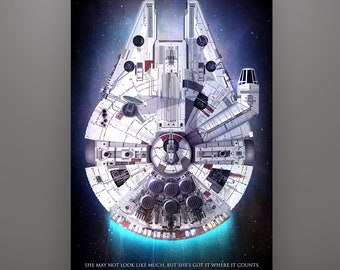 Star Wars Millennium Falcon Art Print by Herofied / Material options also include Metal, Canvas, & Acrylic / Ship Series / Han Solo