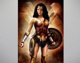 "Wonder Woman ""Immortal Warrior"" Art Print by Herofied / Batman vs Superman, Superhero Artwork / Metal, Canvas, & Acrylic options"