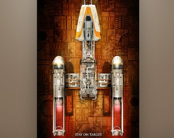 Star Wars Y-Wing Art Print by Herofied / Material options also include Metal, Canvas, & Acrylic / Ship Series