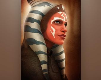 Star Wars The Mandalorian Ahsoka Tano Art Print by Herofied / Material options also include Metal, Canvas, & Acrylic