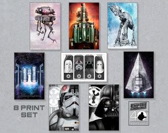 Star Wars The Empire Strikes Back Set of 8 11X17 Standard Art Prints by Herofied / Boba Fett, Darth Vader, Star Destroyer, AT-AT