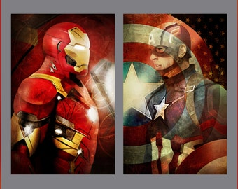 Iron Man and Captain America Civil War Set of 2 Art Prints by Herofied / Material options also include Metal, Canvas, & Acrylic / MCU