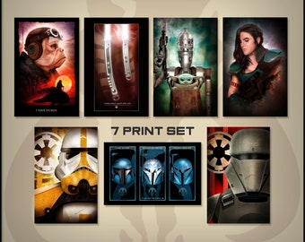 Star Wars The Mandalorian Set of 7 11X17 Standard Art Prints by Herofied / Grogu, IG-11, Kuiil, Cara Dune, Ahsoka, Nite Owls