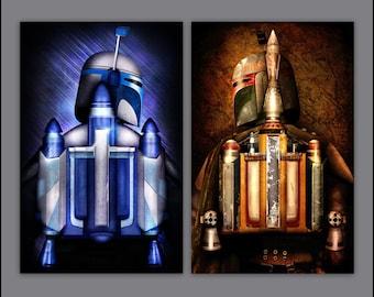Star Wars Jango Fett & Boba Fett (ROTJ) Art Print Set / Jetpack Series by Herofied / Material options also include Metal, Canvas, Acrylic