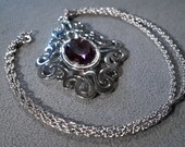 Vintage Silver Tone Designer Signed Sarah Coventry Large Round Purple Faceted Stone Pendant Charm Necklace Chain