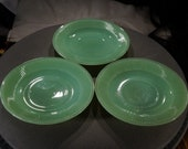 Antique Vintage Set 3 Jadeite Green Depression Glass plate Dishes Ribbed Design Dinning Collectable Home Decor Accessory Art Deco Style
