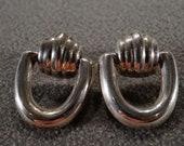 Vintage Sterling Silver Pierced Earrings Articulated Design Dangle Door Knocker Setting Art Deco Style 2795