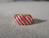 Vintage 10 K Yellow Gold 6 Row 30 Round Ruby Cigar Band Design Wedding Band Ring, Size 6.5 Band Ring, Size 4 RL